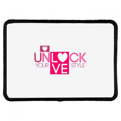 Lock Love Rectangle Patch Designed By Bluebubble