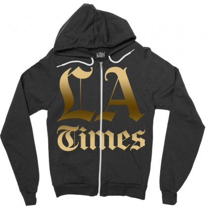 Los Angeles Times Zipper Hoodie Designed By Bluebubble