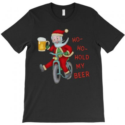 Funny Christmas Santa Claus Hold My Beer T-shirt Designed By Rodgergise