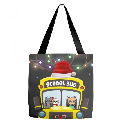 Christmas School Bus For Dark Tote Bags Designed By Hasret