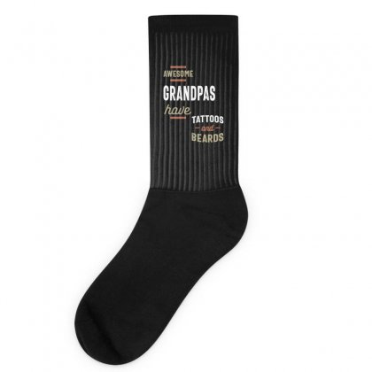 Awesome Grandpas Have Tattoos And Beards Gift Men's Socks Designed By Cidolopez