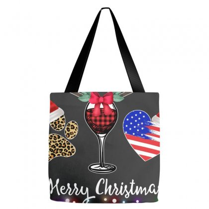 Merry Christmas American Flag And Wine For Dark Tote Bags Designed By Hasret