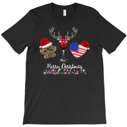 Merry Christmas American Flag And Wine For Dark T-shirt Designed By Zeynepu