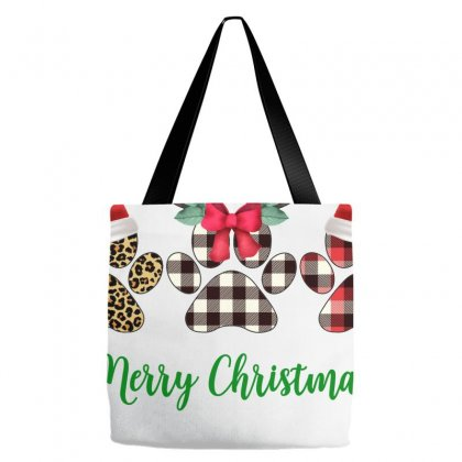 Merry Christmas Paw For Light Tote Bags Designed By Hasret