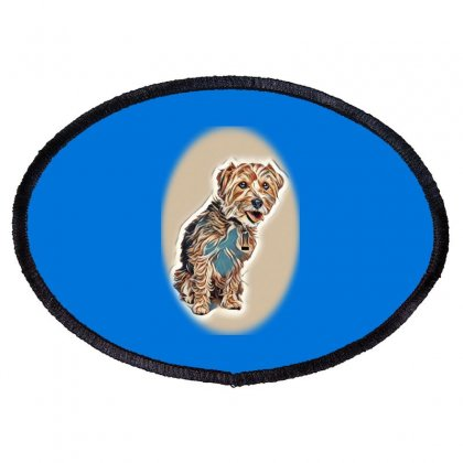 Mixed Breed Dog,yorkshire Ter Oval Patch Designed By Kemnabi