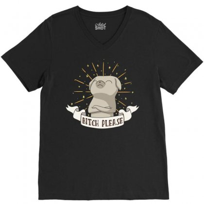 Bitch Please V-neck Tee Designed By Baron