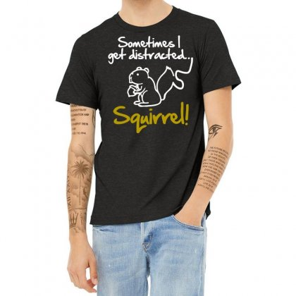 Sometimes I Get Distracted Squirrel Heather T-shirt Designed By Blackheart