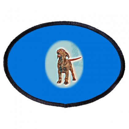 Chocolate Labrador Retriever G Up Isolated On Oval Patch Designed By Kemnabi