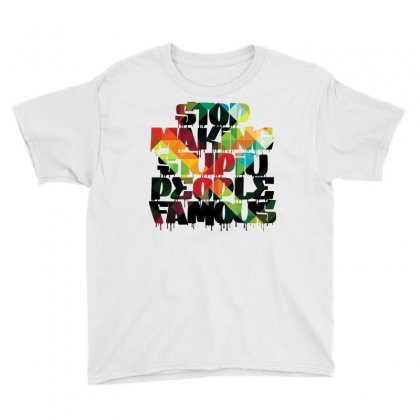 Stop Making Stupid People Famous - Geometric Background Youth Tee Designed By Helloshop