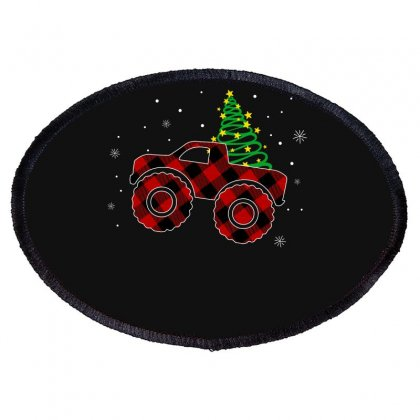 Monster Truck Christmas Plaid Pattern For Dark Oval Patch Designed By Hasret