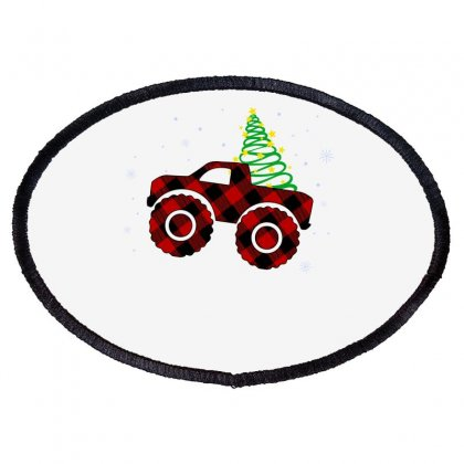 Monster Truck Christmas Plaid Pattern For Light Oval Patch Designed By Hasret