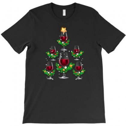 Christmas Tree Wine T-shirt Designed By Gurkan