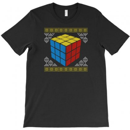 Rubik's Cube Ugly Christmas T-shirt Designed By Gurkan