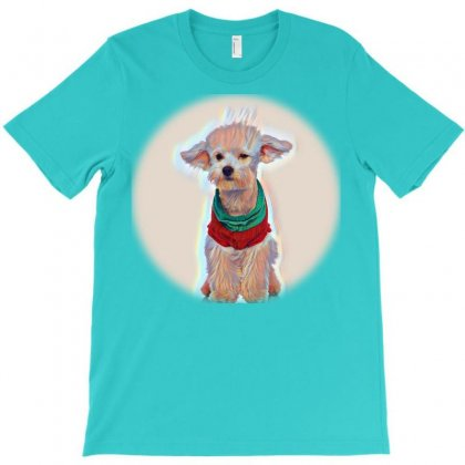 An Adorable, Happy Puppy Caugg On Vibrant Gre T-shirt Designed By Kemnabi