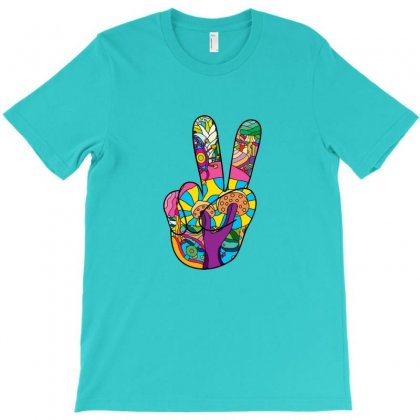 Victory Hand Psychedelic Hippie 60s Symbol T-shirt Designed By Arsa