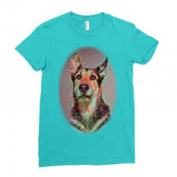 white dog playing with ball i Ladies Fitted T-Shirt | Artistshot