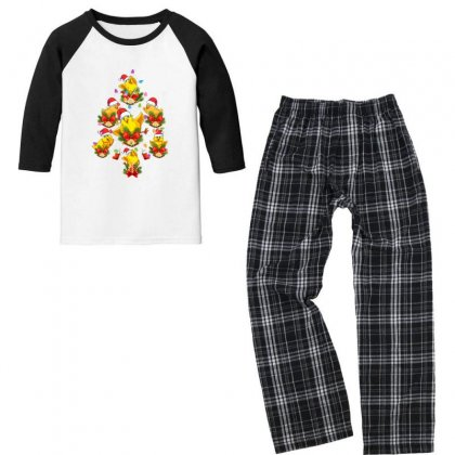 Christmas Tree  Chicken Youth 3/4 Sleeve Pajama Set Designed By Gurkan