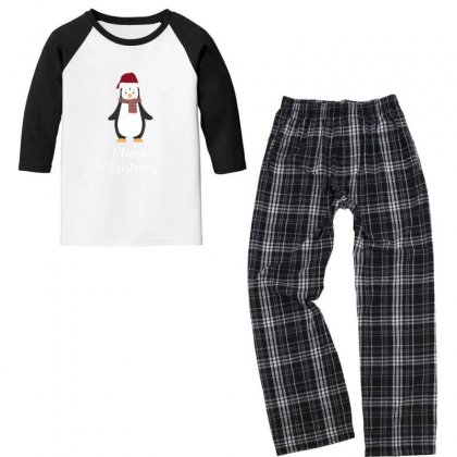 Merry Christmas Penguen Youth 3/4 Sleeve Pajama Set Designed By As99
