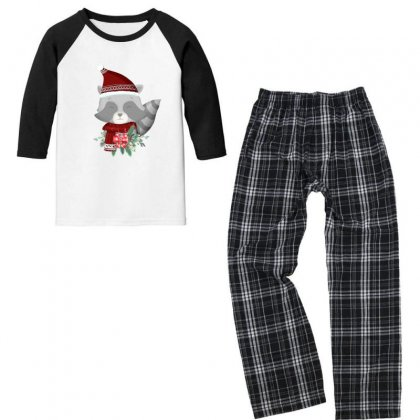 Merry Christmas Raccoon Youth 3/4 Sleeve Pajama Set Designed By Gurkan