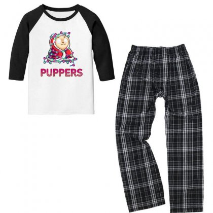 Comfy Christmas Pupper Youth 3/4 Sleeve Pajama Set Designed By Arsa