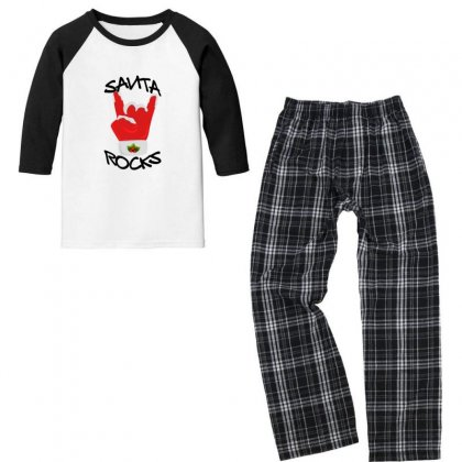 Santa Rocks For Light Youth 3/4 Sleeve Pajama Set Designed By Gurkan