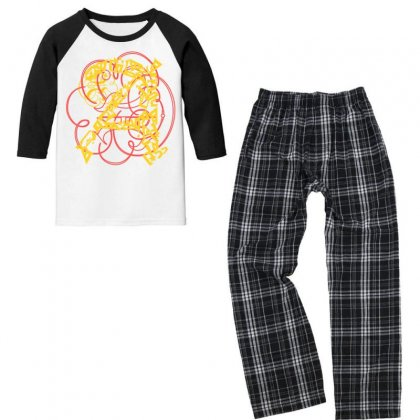 Lettre A2 Youth 3/4 Sleeve Pajama Set Designed By Nowlam