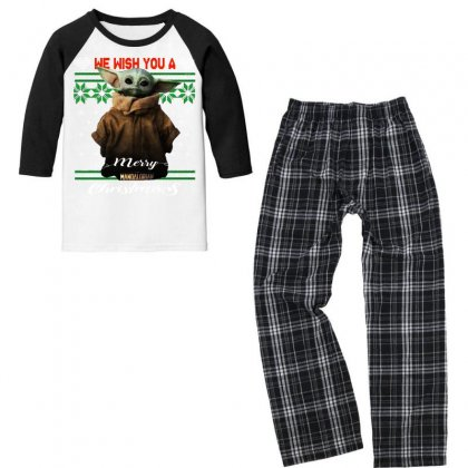 Wish You A Merry Christmas   The Mandalorian Youth 3/4 Sleeve Pajama Set Designed By Paulscott Art