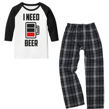 I Need Beer Loading Low Battery Funny Youth 3/4 Sleeve Pajama Set Designed By Candrashop