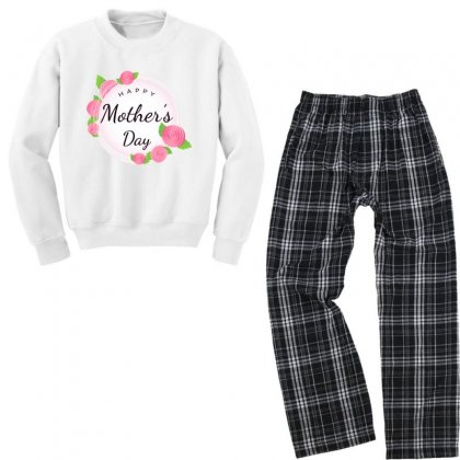 The Happy Elements Of Mothers Day In Pink Round Flowers Youth Sweatshirt Pajama Set Designed By Lotus Fashion Realm
