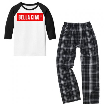 Casa De Papel  Bella Ciao! Youth 3/4 Sleeve Pajama Set Designed By Jetspeed001