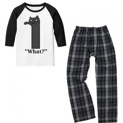 Cat What Funny Youth 3/4 Sleeve Pajama Set Designed By Jetspeed001