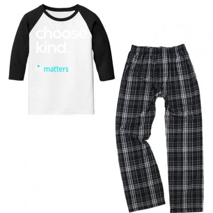 Choose Kind, Kindness Matters Youth 3/4 Sleeve Pajama Set Designed By Jetspeed001