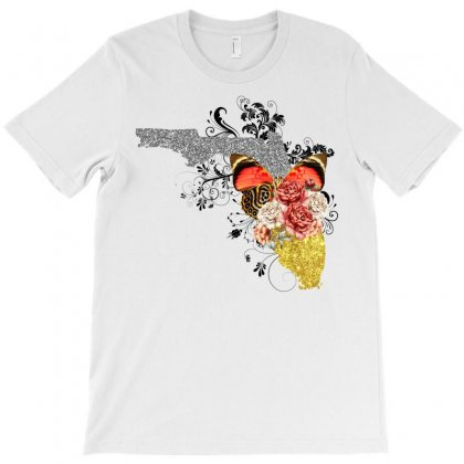 Florida Floral Map T-shirt Designed By Omer Acar