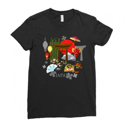 Culture Of Japan Tradition Illustration Background Ladies Fitted T-shirt Designed By Salmanaz