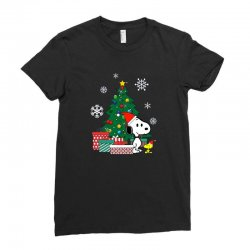 Christmas snoopy with woodstock Ladies Fitted T-Shirt | Artistshot