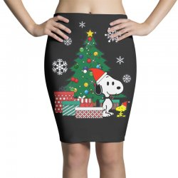 Christmas snoopy with woodstock Pencil Skirts | Artistshot