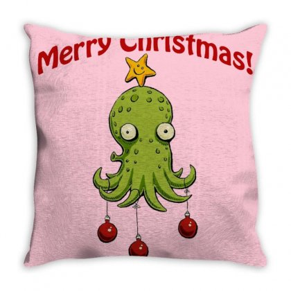 Christmas Cephalopod Throw Pillow Designed By Oktaviany