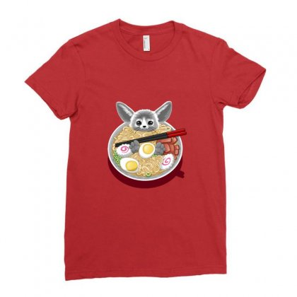 Ramen Mouse Ladies Fitted T-shirt Designed By Arsa