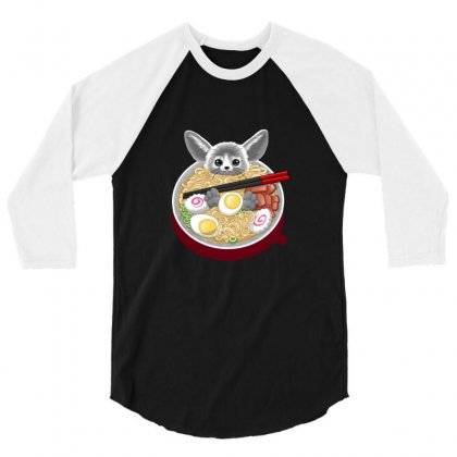 Ramen Mouse 3/4 Sleeve Shirt Designed By Arsa