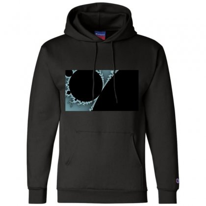 Mandelbrot Fractal Blue And Black Champion Hoodie Designed By Zykkwolf