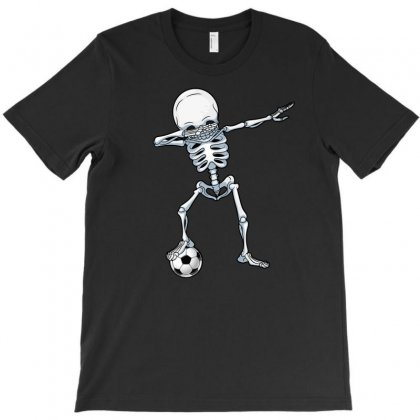 Dabbing Skeleton Soccer Halloween Skull T-shirt Designed By Ursulart