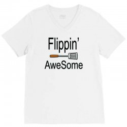 flippin awesome cooking greeting V-Neck Tee | Artistshot
