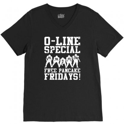 Funny Offensive Line Free Pancakes Served Football Lineman V-neck Tee Designed By Teeshop