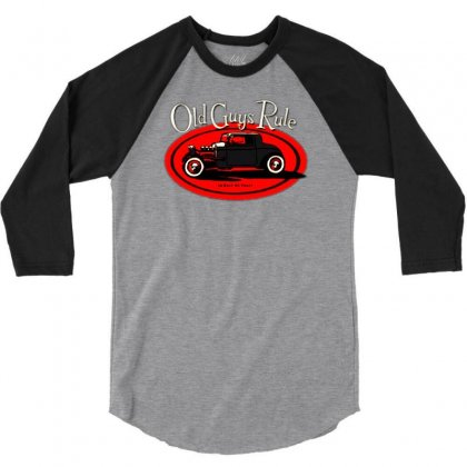Old Guys Rule Classic Rat Rod Smoke 3/4 Sleeve Shirt Designed By Lyly