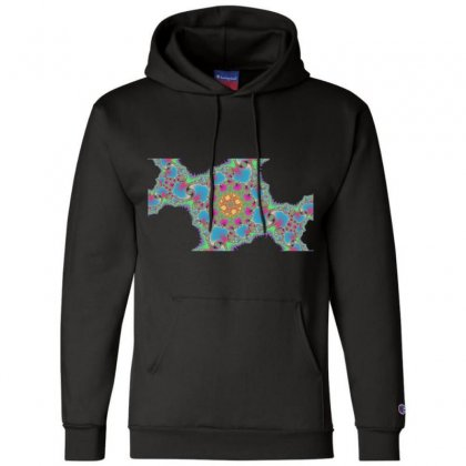 Fractal Spiral Cross Champion Hoodie Designed By Zykkwolf