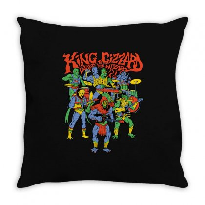 King And Gizzard And The Lizard Wizard Throw Pillow Designed By Mostwanted