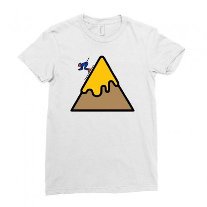 Mountain Ski Ladies Fitted T-shirt Designed By Warief77