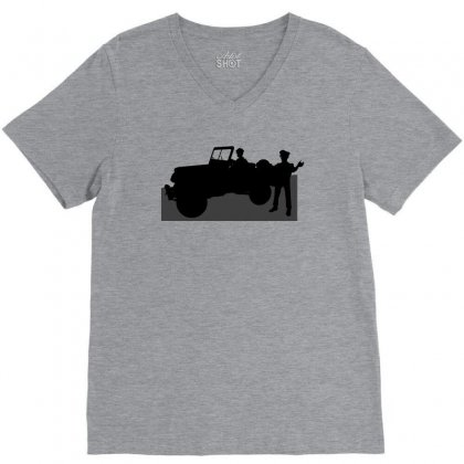 Jeeps And The Army V-neck Tee Designed By Lebaoan