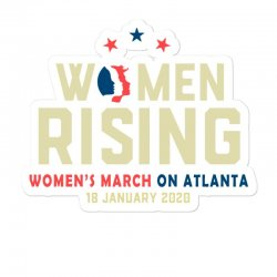 Women's Rising   Women's March On Atlanta Sticker Designed By Hot Trends