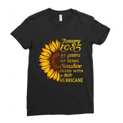 January 1985 35 Years Of Being Awesome Sunflower Ladies Fitted T-shirt Designed By Twinklered.com